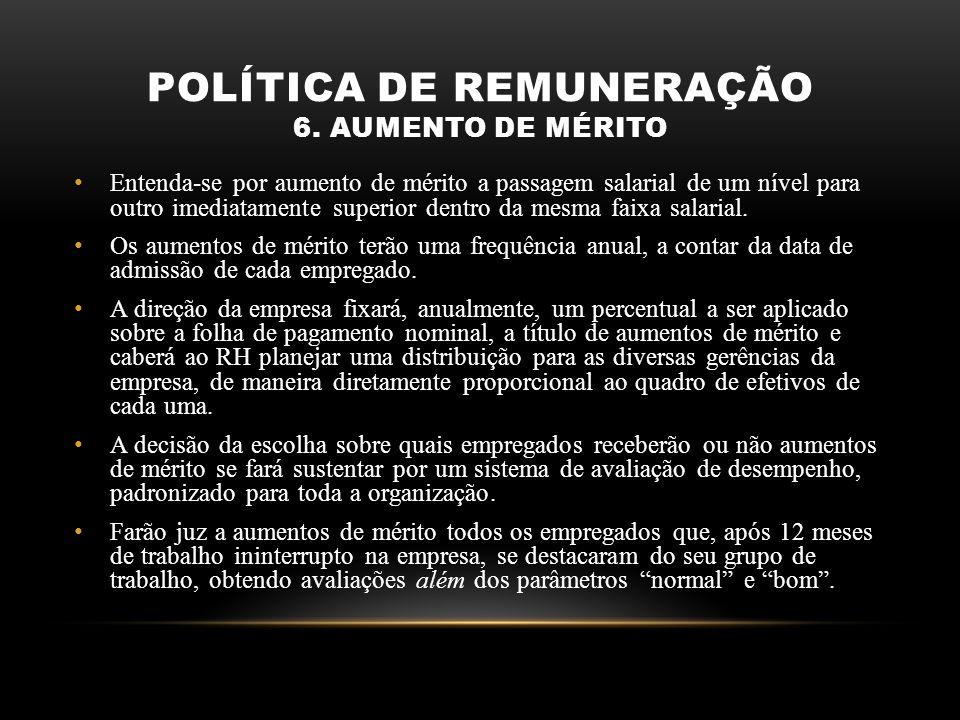 POLÍTICA DE REMUNERAÇÃO 6. AUMENTO DE MÉRITO Entenda-se por aumento de mérito a passagem salarial de um nível para outro imediatamente superior dentro