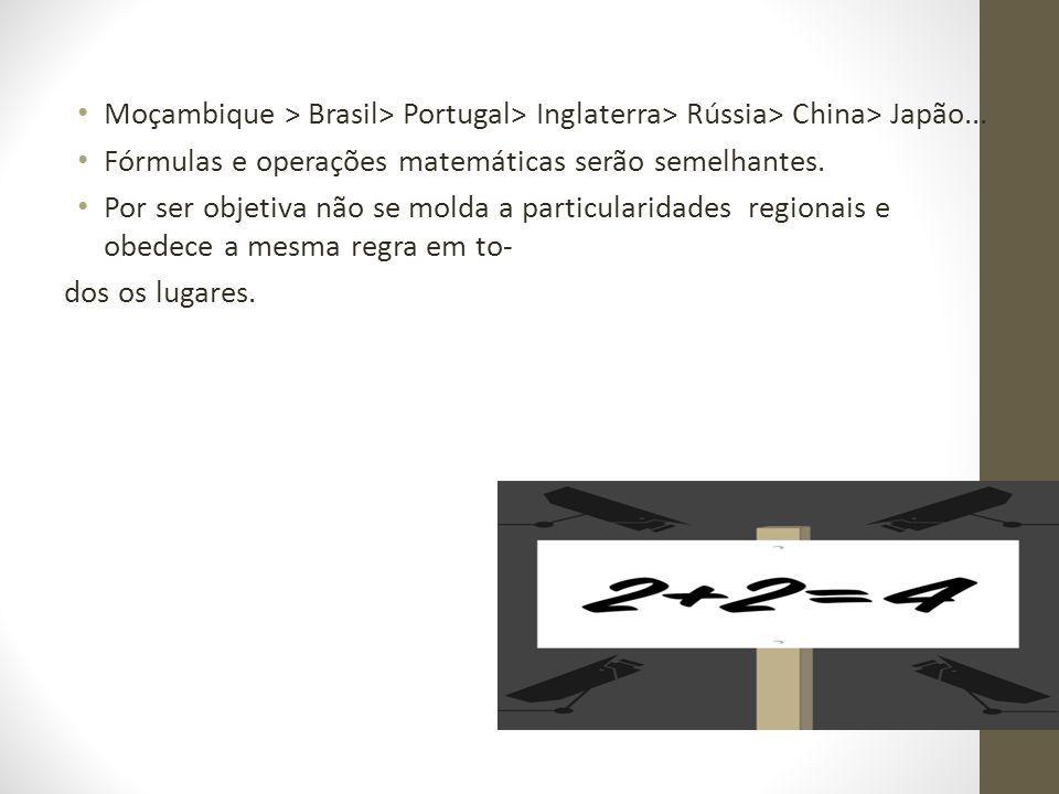 Moçambique > Brasil> Portugal> Inglaterra> Rússia> China> Japão... Fórmulas e operações matemáticas serão semelhantes. Por ser objetiva não se molda a