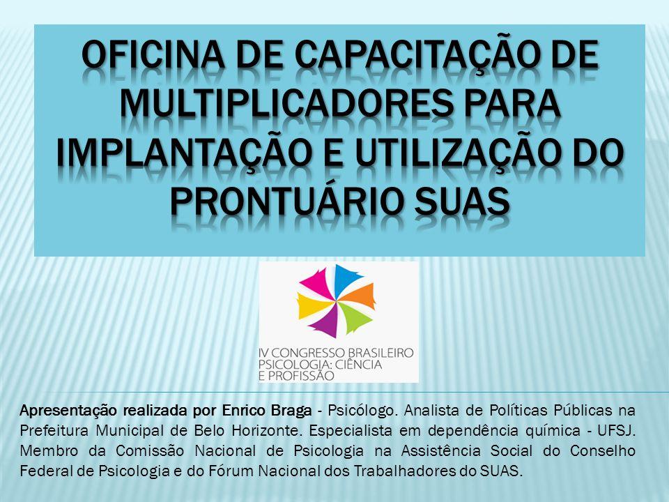 Apresentação realizada por Enrico Braga - Psicólogo. Analista de Políticas Públicas na Prefeitura Municipal de Belo Horizonte. Especialista em dependê