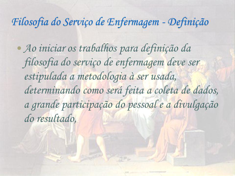 Filosofia do Serviço de Enfermagem - Definição Ao iniciar os trabalhos para definição da filosofia do serviço de enfermagem deve ser estipulada a meto