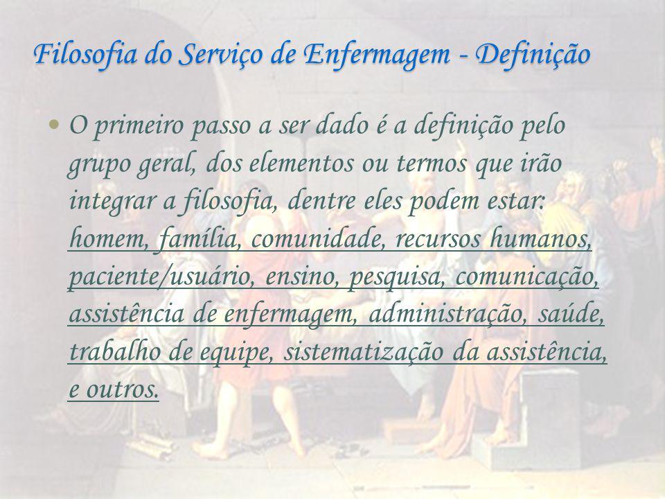 Filosofia do Serviço de Enfermagem - Definição O primeiro passo a ser dado é a definição pelo grupo geral, dos elementos ou termos que irão integrar a
