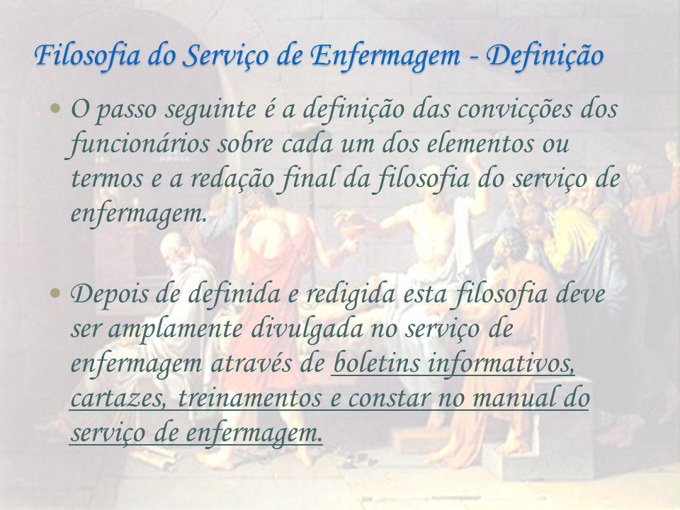 Filosofia do Serviço de Enfermagem - Definição O passo seguinte é a definição das convicções dos funcionários sobre cada um dos elementos ou termos e a redação final da filosofia do serviço de enfermagem.