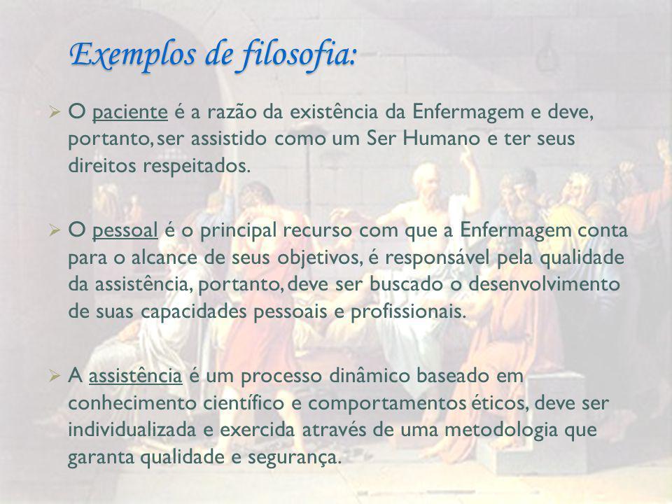 Exemplos de filosofia:  O paciente é a razão da existência da Enfermagem e deve, portanto, ser assistido como um Ser Humano e ter seus direitos respeitados.
