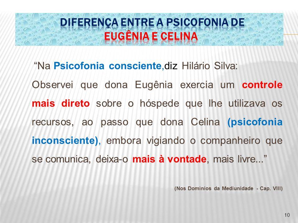 """""""Na Psicofonia consciente,diz Hilário Silva: Observei que dona Eugênia exercia um controle mais direto sobre o hóspede que lhe utilizava os recursos,"""