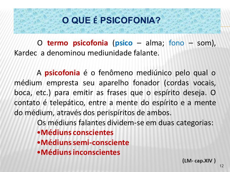 O QUE É PSICOFONIA? O termo psicofonia (psico – alma; fono – som), Kardec a denominou mediunidade falante. A psicofonia é o fenômeno mediúnico pelo qu