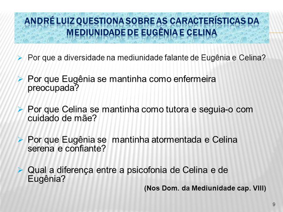  Por que a diversidade na mediunidade falante de Eugênia e Celina?  Por que Eugênia se mantinha como enfermeira preocupada?  Por que Celina se mant