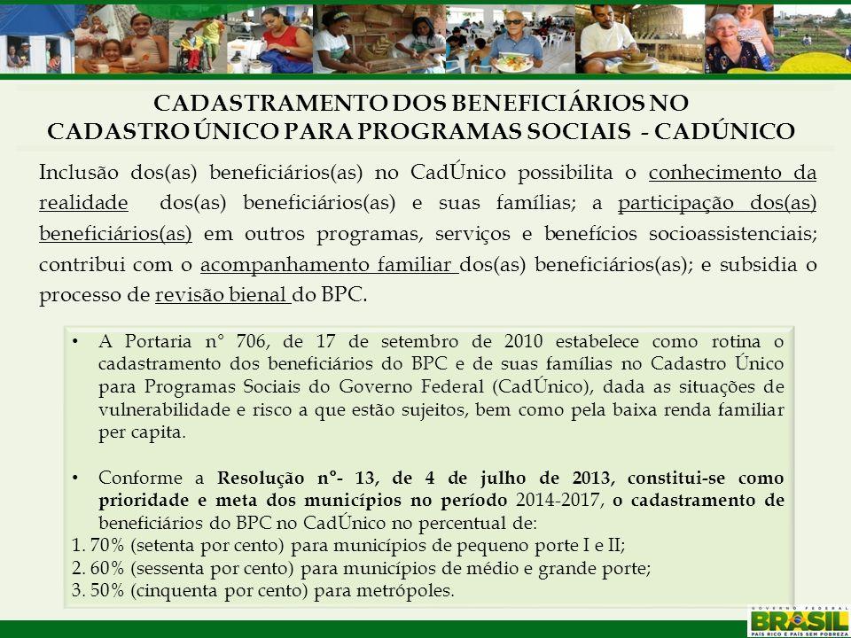 CADASTRAMENTO DOS BENEFICIÁRIOS NO CADASTRO ÚNICO PARA PROGRAMAS SOCIAIS - CADÚNICO A Portaria n° 706, de 17 de setembro de 2010 estabelece como rotin