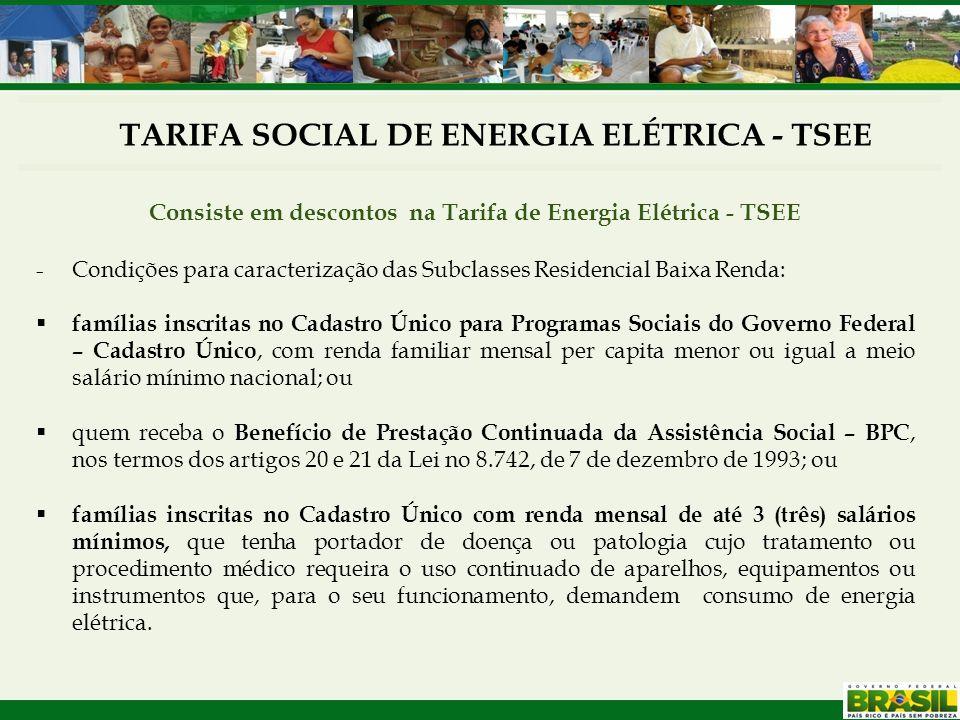 TARIFA SOCIAL DE ENERGIA ELÉTRICA - TSEE Consiste em descontos na Tarifa de Energia Elétrica - TSEE -Condições para caracterização das Subclasses Resi