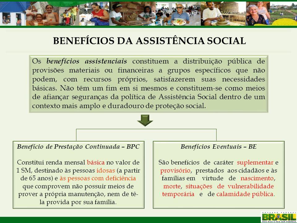 BENEFÍCIOS DA ASSISTÊNCIA SOCIAL Os benefícios assistenciais constituem a distribuição pública de provisões materiais ou financeiras a grupos específi
