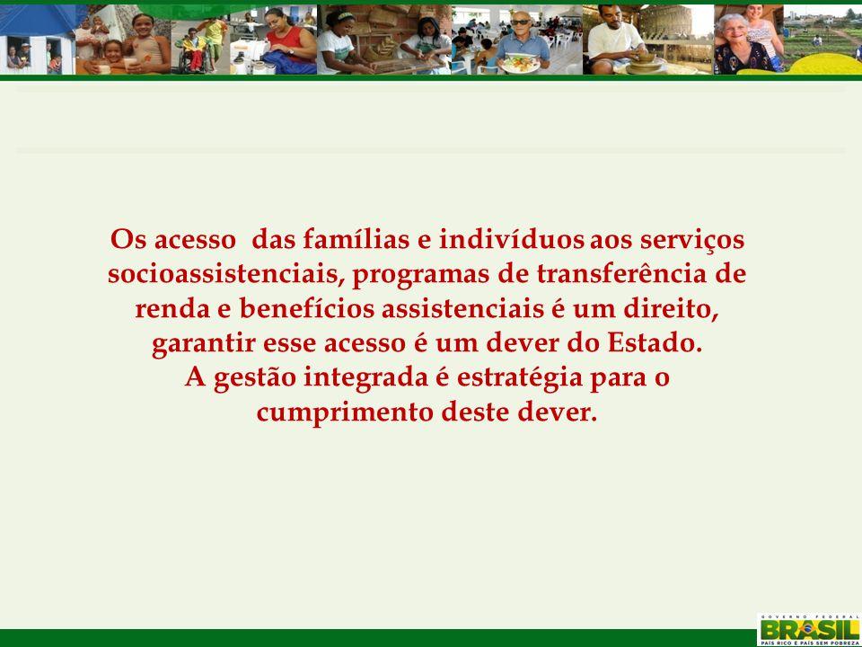 Os acesso das famílias e indivíduos aos serviços socioassistenciais, programas de transferência de renda e benefícios assistenciais é um direito, gara
