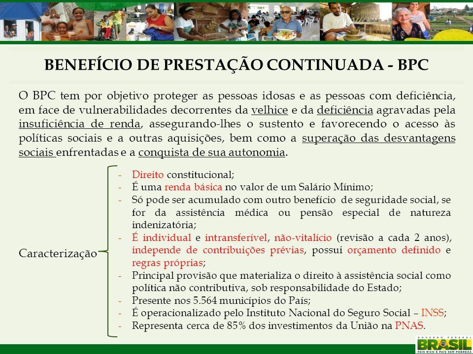 BENEFÍCIO DE PRESTAÇÃO CONTINUADA - BPC O BPC tem por objetivo proteger as pessoas idosas e as pessoas com deficiência, em face de vulnerabilidades de