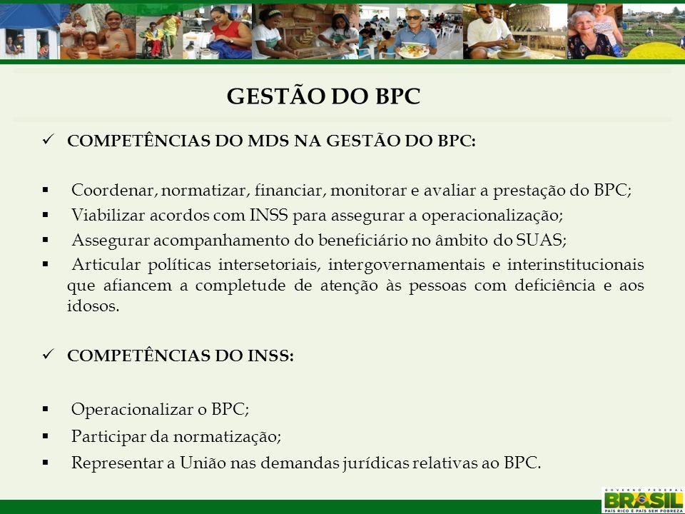 COMPETÊNCIAS DO MDS NA GESTÃO DO BPC:  Coordenar, normatizar, financiar, monitorar e avaliar a prestação do BPC;  Viabilizar acordos com INSS para a