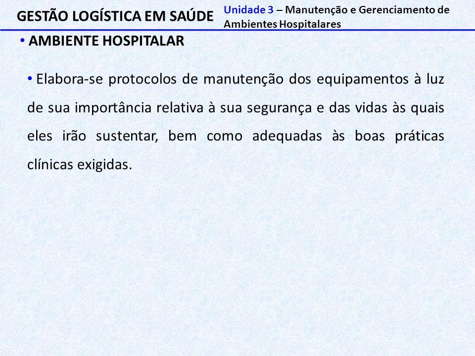GESTÃO LOGÍSTICA EM SAÚDE AMBIENTE HOSPITALAR Unidade 3 – Manutenção e Gerenciamento de Ambientes Hospitalares Elabora-se protocolos de manutenção dos