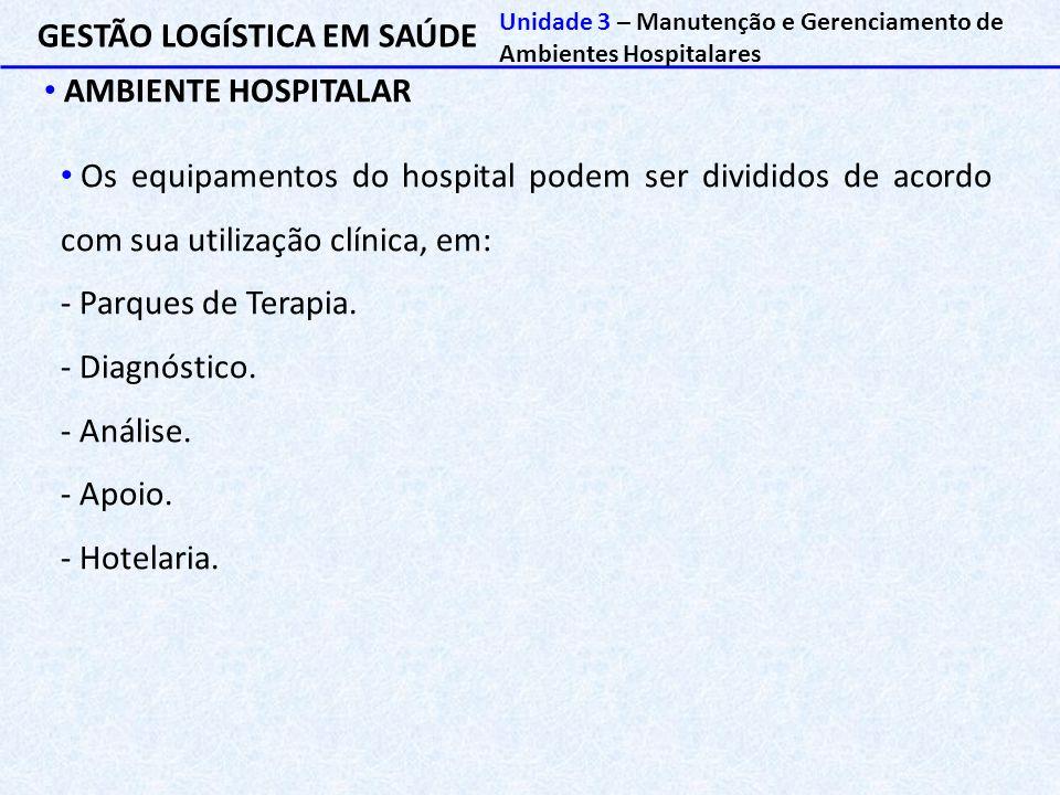 GESTÃO LOGÍSTICA EM SAÚDE AMBIENTE HOSPITALAR Unidade 3 – Manutenção e Gerenciamento de Ambientes Hospitalares Os equipamentos do hospital podem ser d