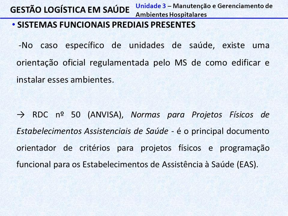 GESTÃO LOGÍSTICA EM SAÚDE SISTEMAS FUNCIONAIS PREDIAIS PRESENTES Unidade 3 – Manutenção e Gerenciamento de Ambientes Hospitalares -No caso específico