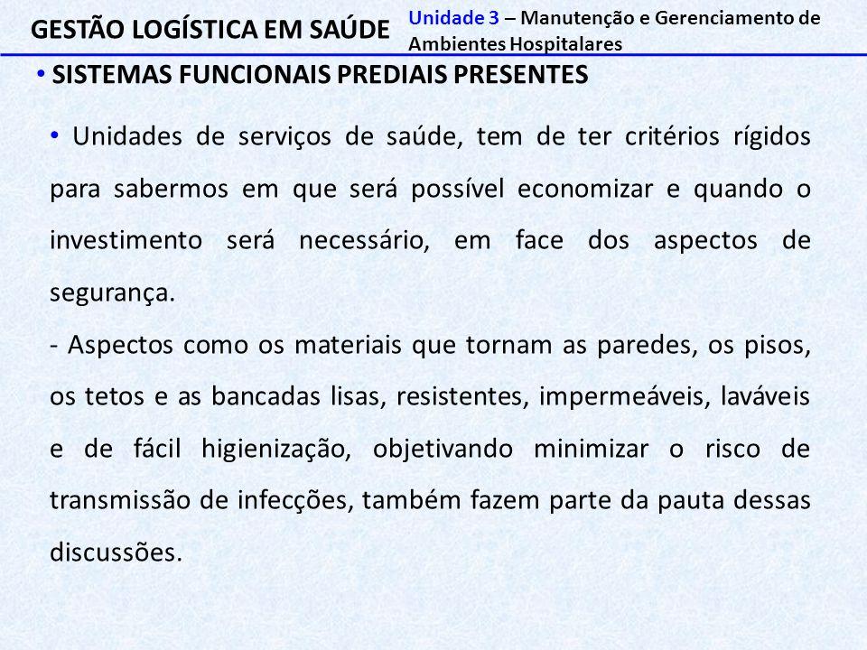 GESTÃO LOGÍSTICA EM SAÚDE SISTEMAS FUNCIONAIS PREDIAIS PRESENTES Unidade 3 – Manutenção e Gerenciamento de Ambientes Hospitalares Unidades de serviços