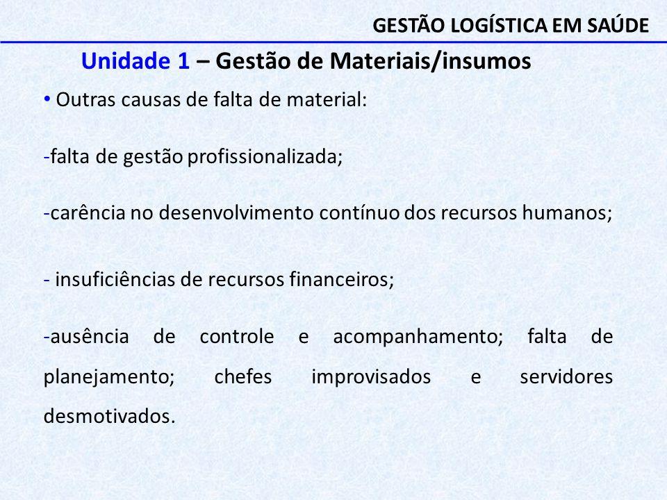 Unidade 1 – Gestão de Materiais/insumos Outras causas de falta de material: -falta de gestão profissionalizada; -carência no desenvolvimento contínuo