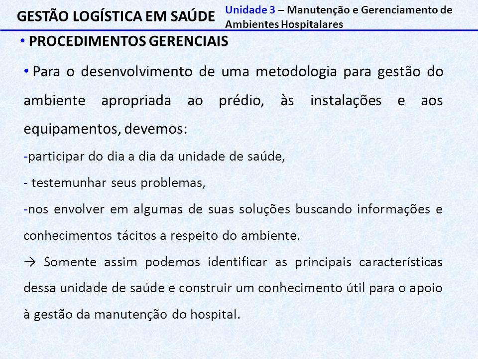 GESTÃO LOGÍSTICA EM SAÚDE PROCEDIMENTOS GERENCIAIS Unidade 3 – Manutenção e Gerenciamento de Ambientes Hospitalares Para o desenvolvimento de uma meto