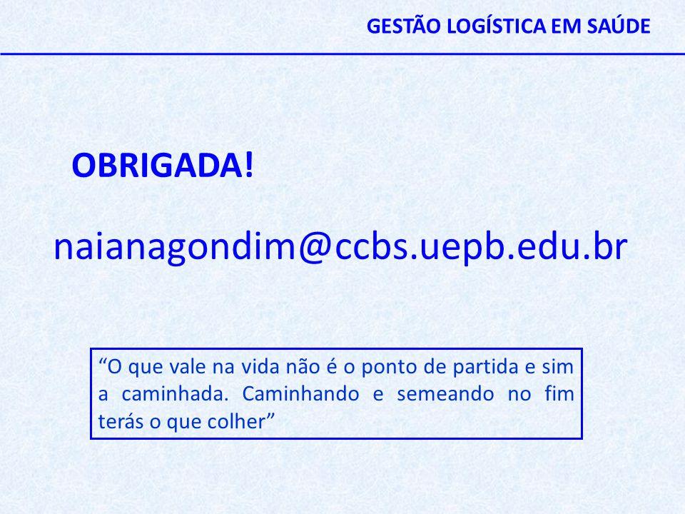 """OBRIGADA! naianagondim@ccbs.uepb.edu.br """"O que vale na vida não é o ponto de partida e sim a caminhada. Caminhando e semeando no fim terás o que colhe"""