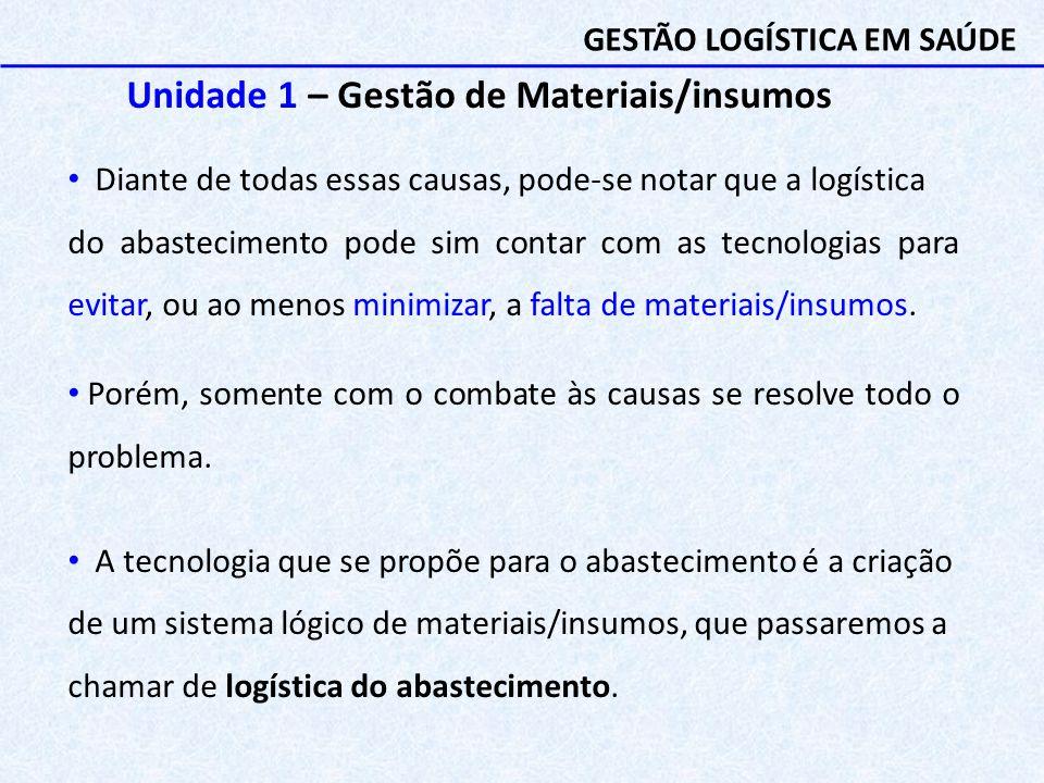Unidade 1 – Gestão de Materiais/insumos Diante de todas essas causas, pode-se notar que a logística do abastecimento pode sim contar com as tecnologia