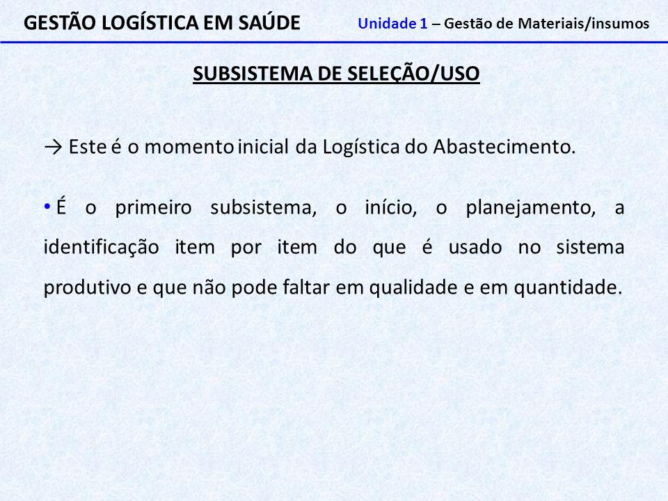 SUBSISTEMA DE SELEÇÃO/USO GESTÃO LOGÍSTICA EM SAÚDE Unidade 1 – Gestão de Materiais/insumos → Este é o momento inicial da Logística do Abastecimento.
