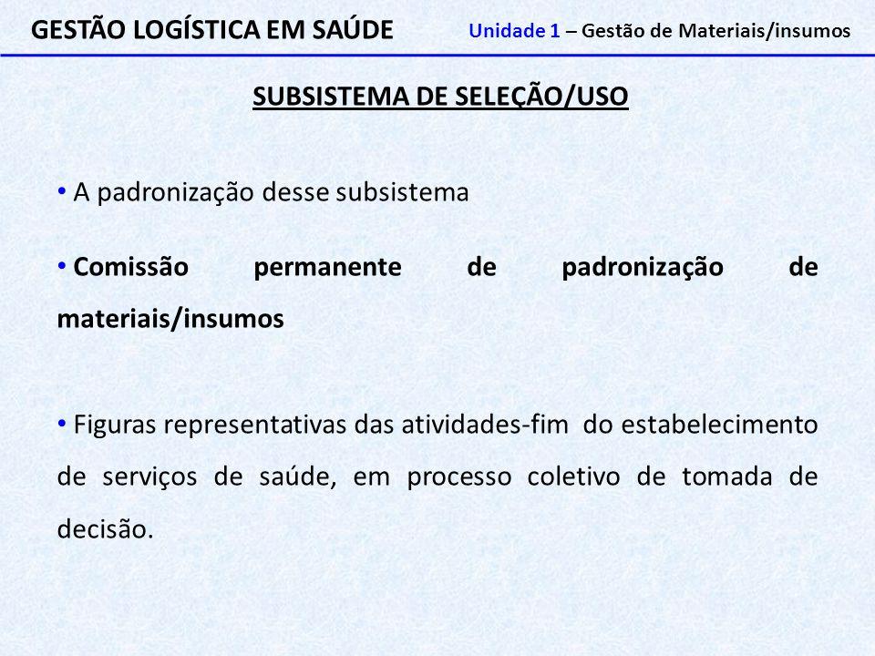 SUBSISTEMA DE SELEÇÃO/USO GESTÃO LOGÍSTICA EM SAÚDE Unidade 1 – Gestão de Materiais/insumos A padronização desse subsistema Comissão permanente de pad