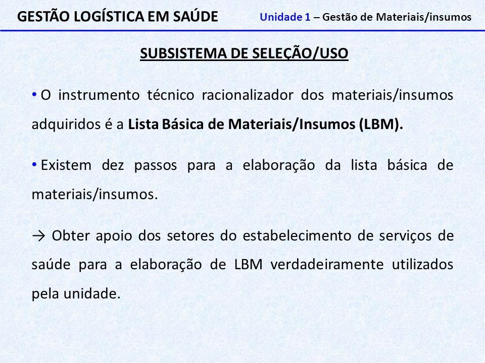SUBSISTEMA DE SELEÇÃO/USO GESTÃO LOGÍSTICA EM SAÚDE Unidade 1 – Gestão de Materiais/insumos O instrumento técnico racionalizador dos materiais/insumos