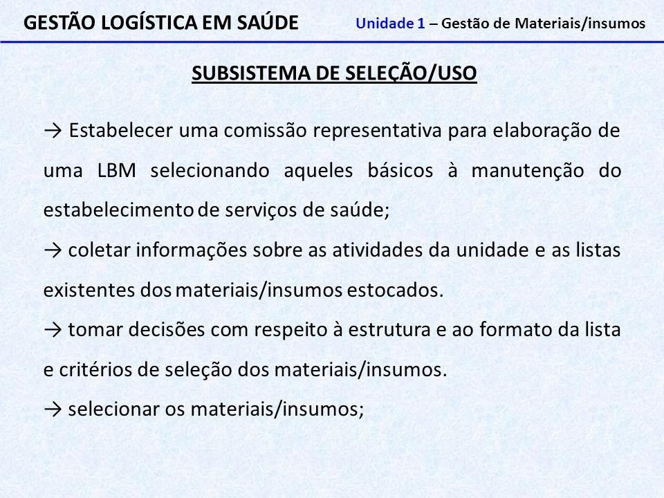 SUBSISTEMA DE SELEÇÃO/USO GESTÃO LOGÍSTICA EM SAÚDE Unidade 1 – Gestão de Materiais/insumos → Estabelecer uma comissão representativa para elaboração