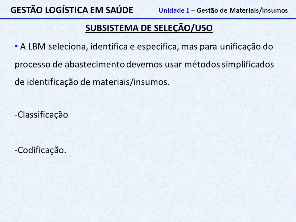 SUBSISTEMA DE SELEÇÃO/USO GESTÃO LOGÍSTICA EM SAÚDE Unidade 1 – Gestão de Materiais/insumos A LBM seleciona, identifica e especifica, mas para unifica