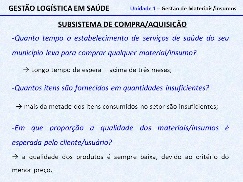 SUBSISTEMA DE COMPRA/AQUISIÇÃO GESTÃO LOGÍSTICA EM SAÚDE Unidade 1 – Gestão de Materiais/insumos -Quanto tempo o estabelecimento de serviços de saúde