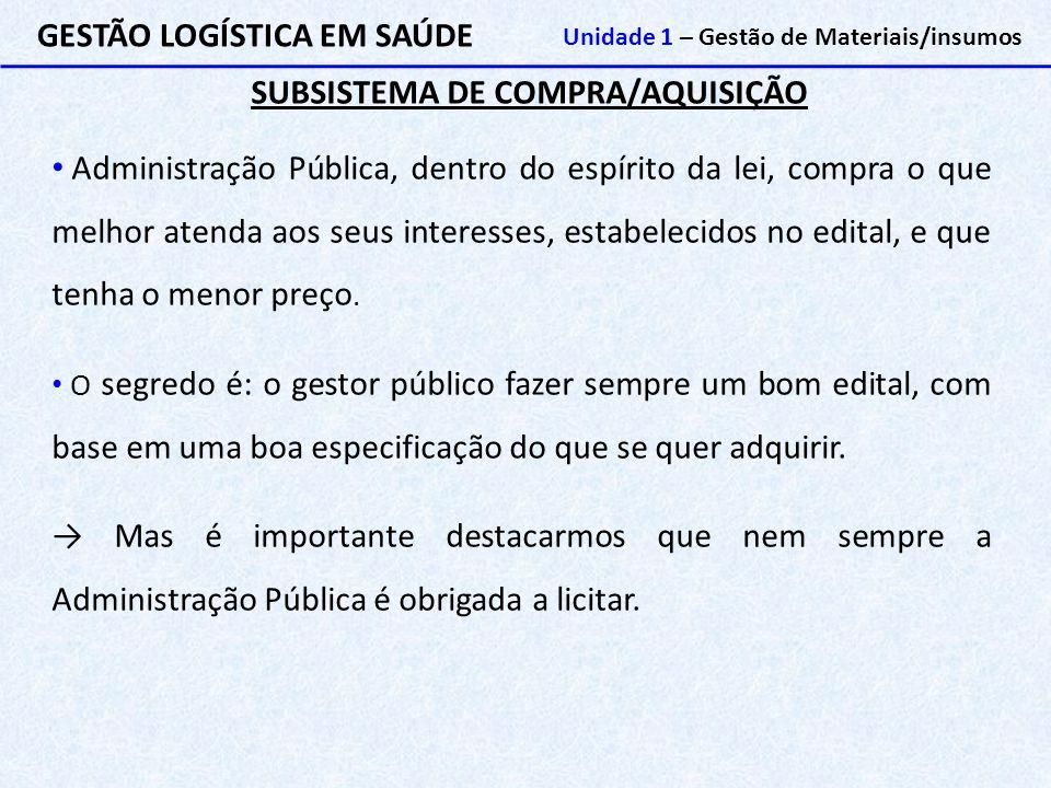 SUBSISTEMA DE COMPRA/AQUISIÇÃO GESTÃO LOGÍSTICA EM SAÚDE Unidade 1 – Gestão de Materiais/insumos Administração Pública, dentro do espírito da lei, com