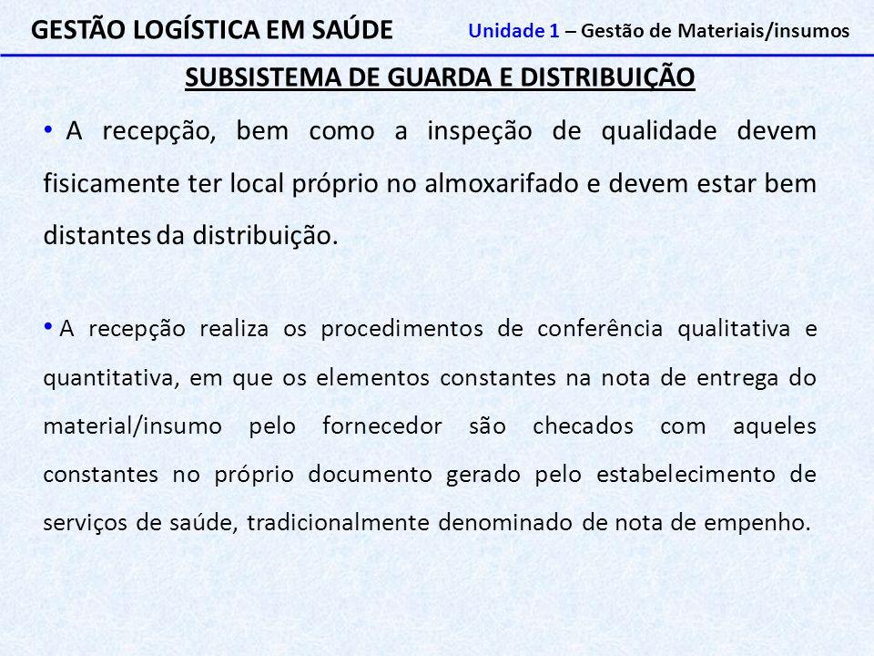 SUBSISTEMA DE GUARDA E DISTRIBUIÇÃO GESTÃO LOGÍSTICA EM SAÚDE Unidade 1 – Gestão de Materiais/insumos A recepção, bem como a inspeção de qualidade dev
