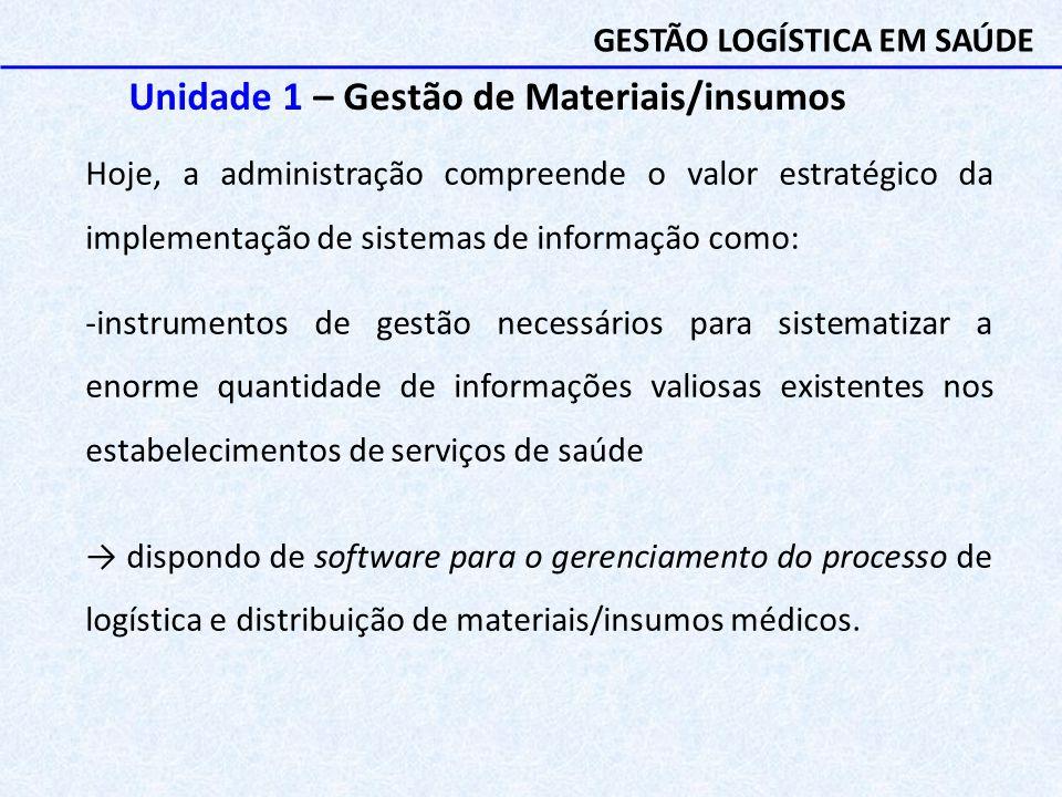 Unidade 1 – Gestão de Materiais/insumos Hoje, a administração compreende o valor estratégico da implementação de sistemas de informação como: -instrum