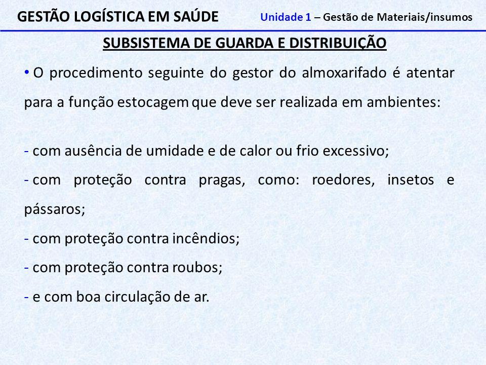 SUBSISTEMA DE GUARDA E DISTRIBUIÇÃO GESTÃO LOGÍSTICA EM SAÚDE Unidade 1 – Gestão de Materiais/insumos O procedimento seguinte do gestor do almoxarifad