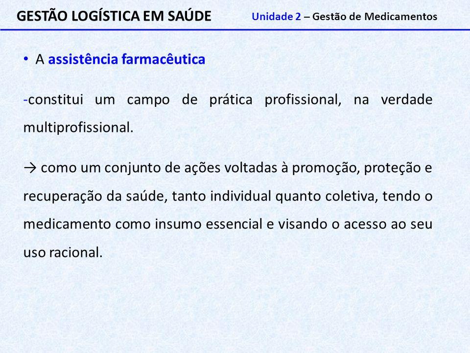 GESTÃO LOGÍSTICA EM SAÚDE Unidade 2 – Gestão de Medicamentos A assistência farmacêutica -constitui um campo de prática profissional, na verdade multip