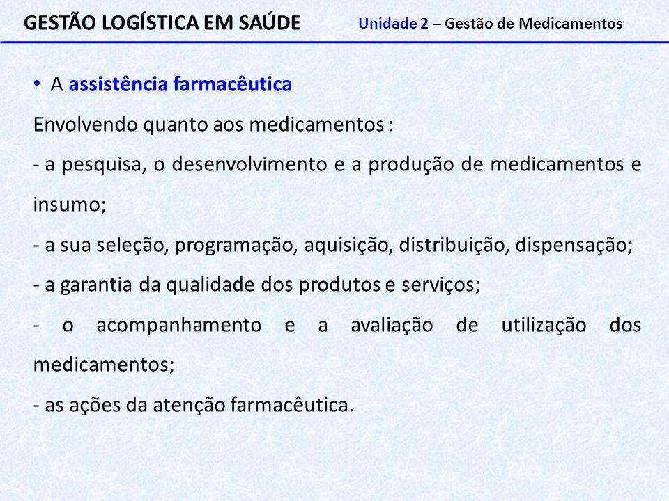 GESTÃO LOGÍSTICA EM SAÚDE Unidade 2 – Gestão de Medicamentos A assistência farmacêutica Envolvendo quanto aos medicamentos : - a pesquisa, o desenvolv