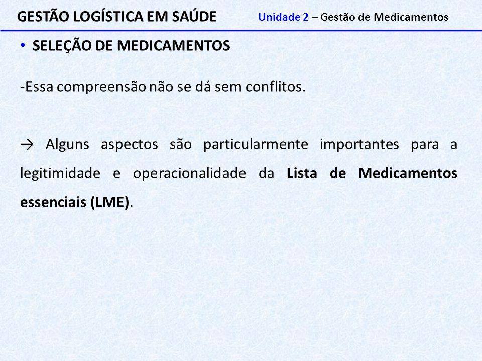 GESTÃO LOGÍSTICA EM SAÚDE Unidade 2 – Gestão de Medicamentos SELEÇÃO DE MEDICAMENTOS -Essa compreensão não se dá sem conflitos. → Alguns aspectos são
