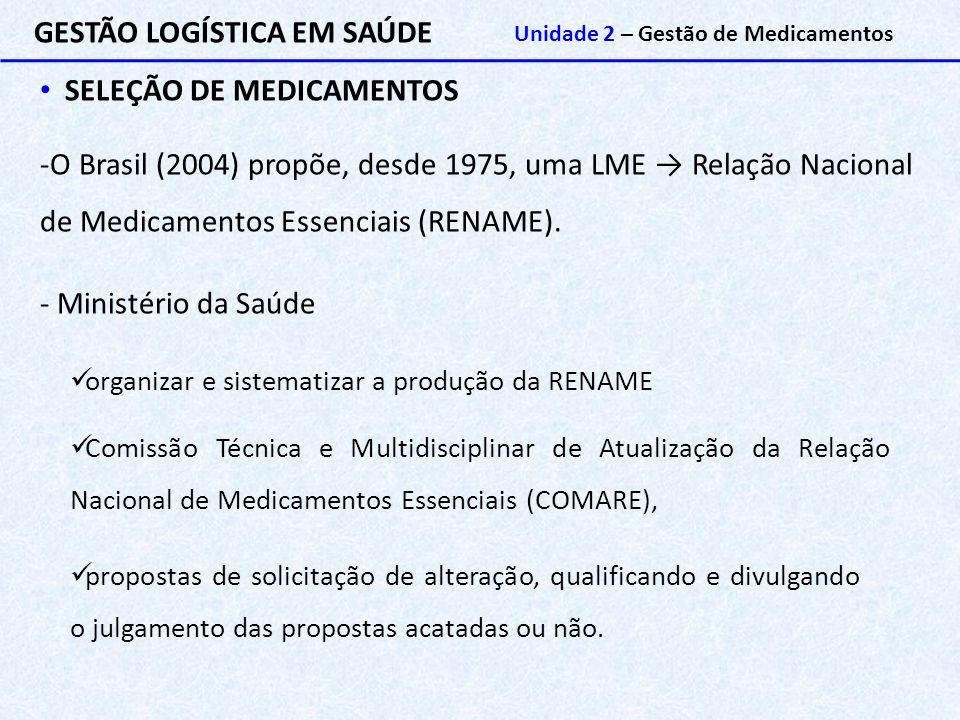 GESTÃO LOGÍSTICA EM SAÚDE Unidade 2 – Gestão de Medicamentos SELEÇÃO DE MEDICAMENTOS -O Brasil (2004) propõe, desde 1975, uma LME → Relação Nacional d