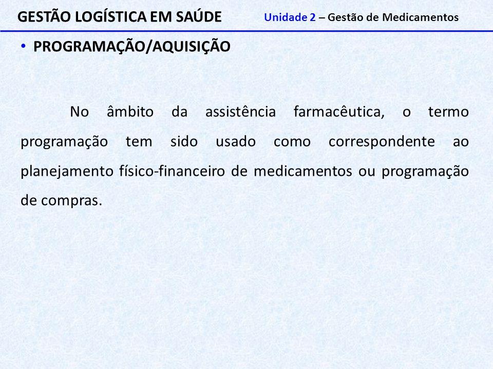 GESTÃO LOGÍSTICA EM SAÚDE Unidade 2 – Gestão de Medicamentos PROGRAMAÇÃO/AQUISIÇÃO No âmbito da assistência farmacêutica, o termo programação tem sido