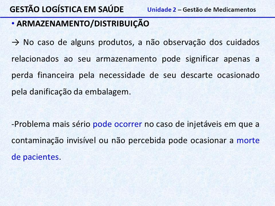 GESTÃO LOGÍSTICA EM SAÚDE Unidade 2 – Gestão de Medicamentos ARMAZENAMENTO/DISTRIBUIÇÃO → No caso de alguns produtos, a não observação dos cuidados re