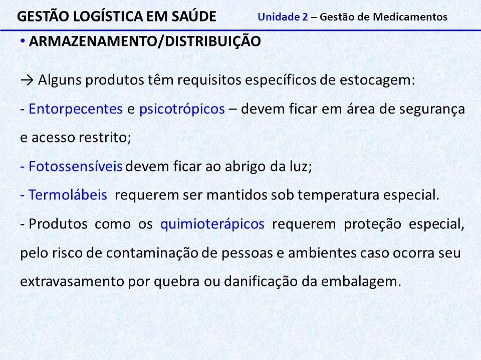 GESTÃO LOGÍSTICA EM SAÚDE Unidade 2 – Gestão de Medicamentos ARMAZENAMENTO/DISTRIBUIÇÃO → Alguns produtos têm requisitos específicos de estocagem: - E
