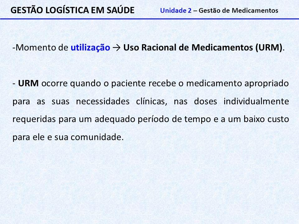 GESTÃO LOGÍSTICA EM SAÚDE Unidade 2 – Gestão de Medicamentos -Momento de utilização → Uso Racional de Medicamentos (URM). - URM ocorre quando o pacien