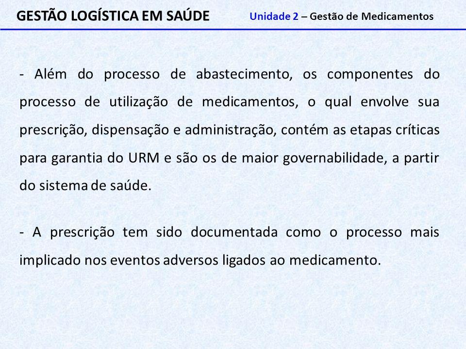 GESTÃO LOGÍSTICA EM SAÚDE Unidade 2 – Gestão de Medicamentos - Além do processo de abastecimento, os componentes do processo de utilização de medicame