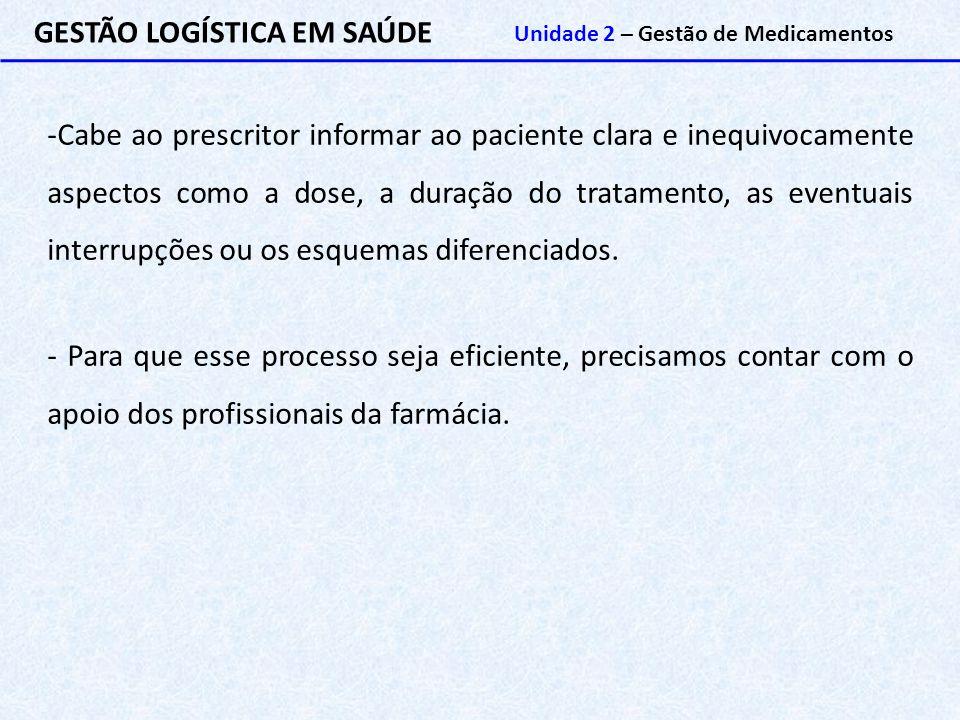 GESTÃO LOGÍSTICA EM SAÚDE Unidade 2 – Gestão de Medicamentos -Cabe ao prescritor informar ao paciente clara e inequivocamente aspectos como a dose, a