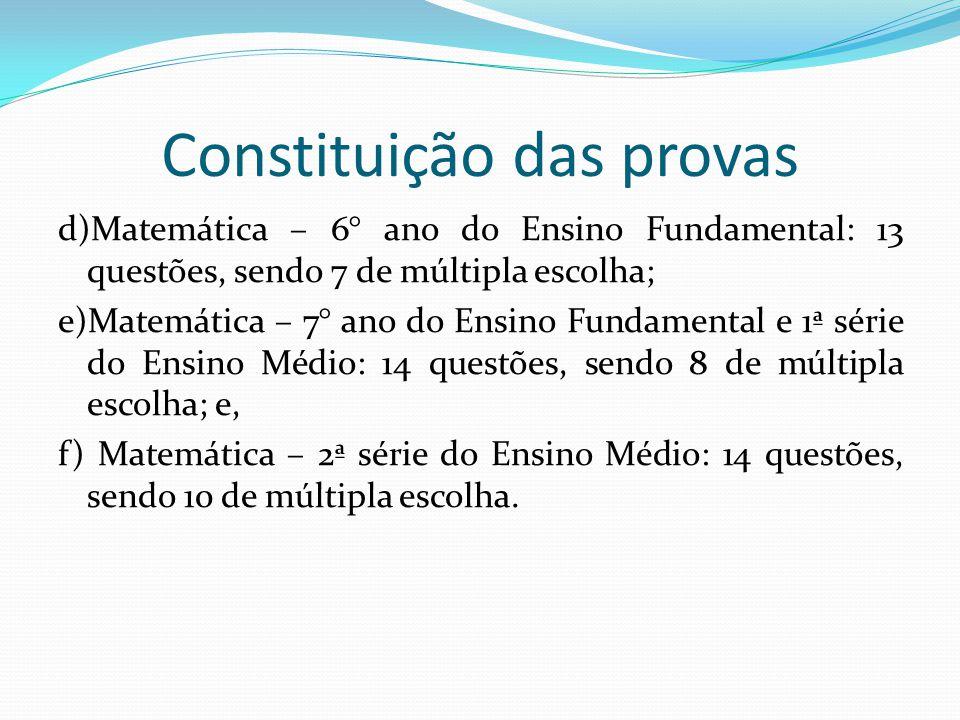Aplicação a) o professor da própria disciplina, como aplicador e corretor; b) dias diferentes para Língua Portuguesa, Matemática e Redação; e, c) preferencialmente aulas duplas.