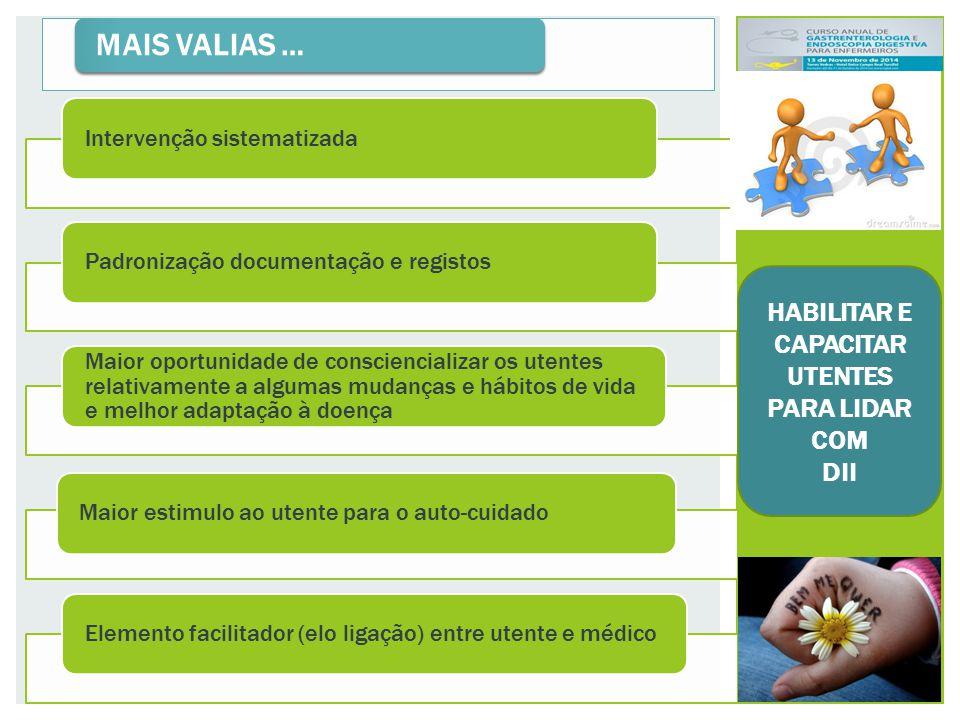 MAIS VALIAS … Intervenção sistematizadaPadronização documentação e registos Maior oportunidade de consciencializar os utentes relativamente a algumas