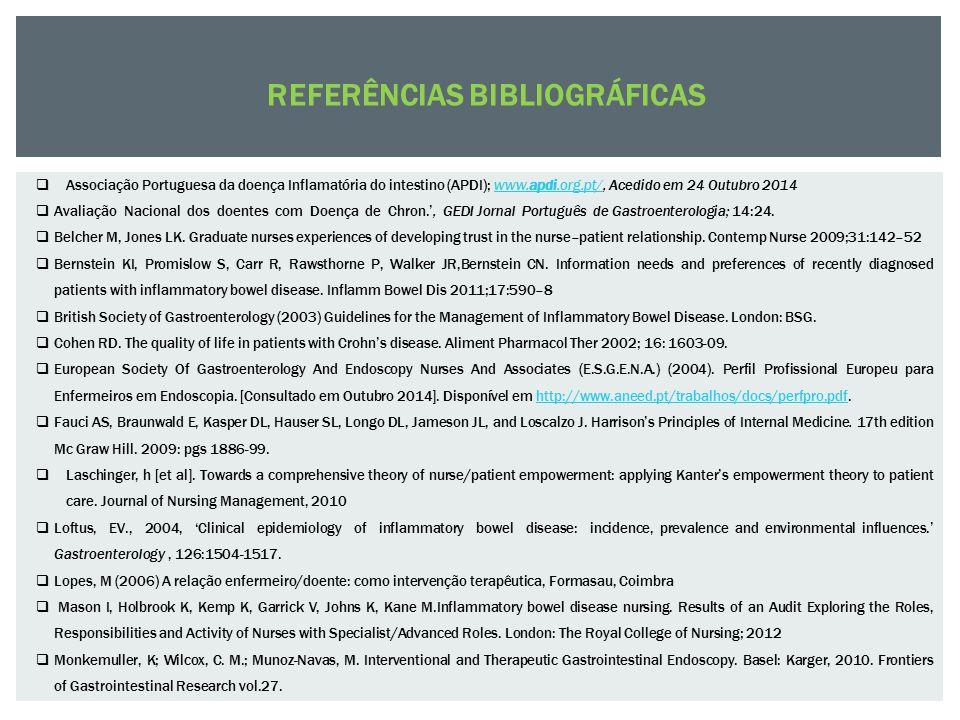  Associação Portuguesa da doença Inflamatória do intestino (APDI); www.apdi.org.pt/, Acedido em 24 Outubro 2014www.apdi.org.pt/  Avaliação Nacional