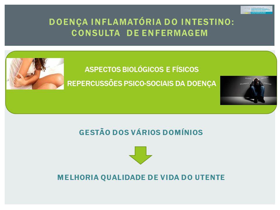DOENÇA INFLAMATÓRIA DO INTESTINO: CONSULTA DE ENFERMAGEM GESTÃO DOS VÁRIOS DOMÍNIOS MELHORIA QUALIDADE DE VIDA DO UTENTE ASPECTOS BIOLÓGICOS E FÍSICOS