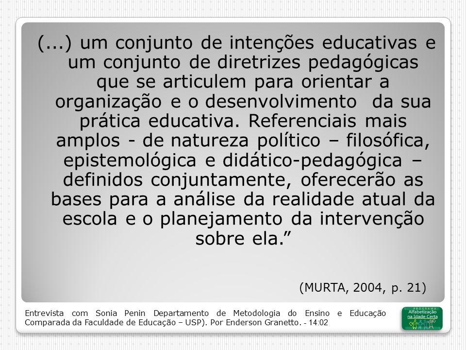 (...) um conjunto de intenções educativas e um conjunto de diretrizes pedagógicas que se articulem para orientar a organização e o desenvolvimento da sua prática educativa.