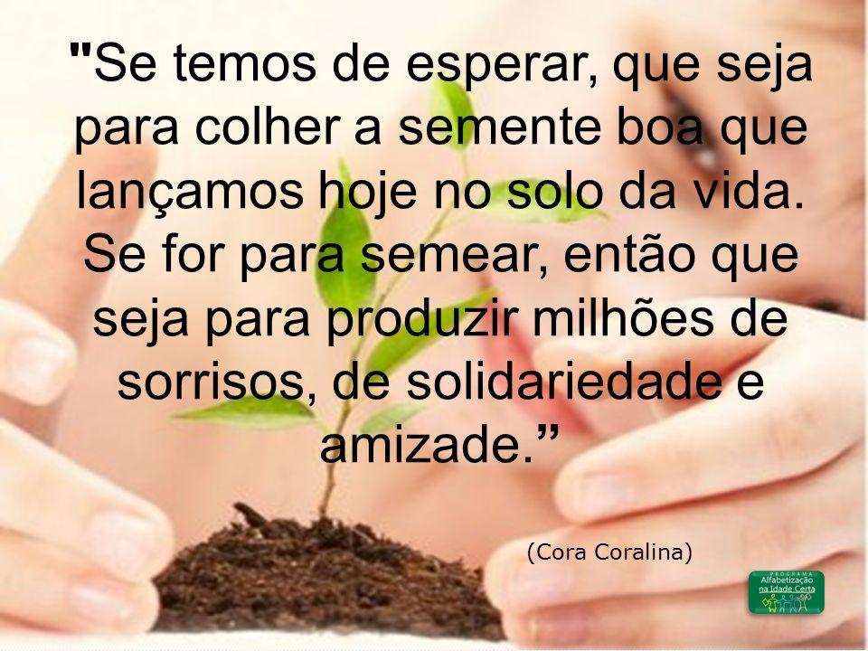 Se temos de esperar, que seja para colher a semente boa que lançamos hoje no solo da vida.